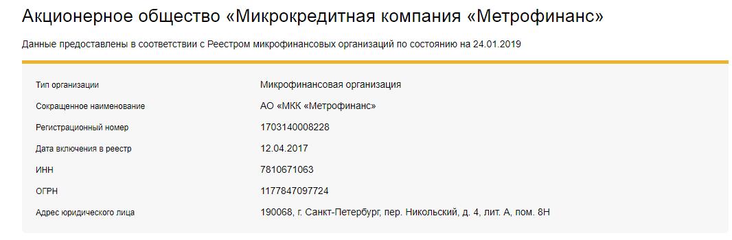 metrofinans сведения на сайте ЦБ РФ