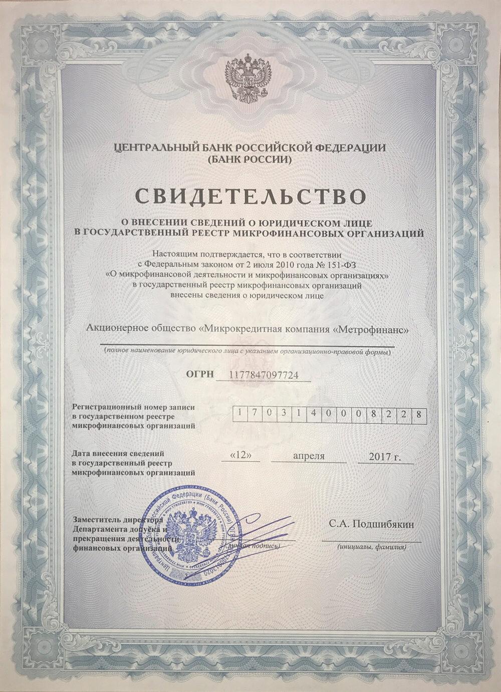 metrokredit документ